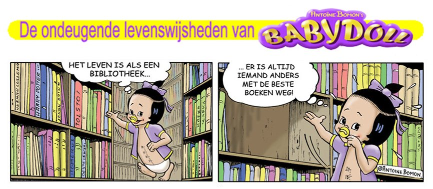 Babydoll cartoon - Over het leven - Copyright by Antoine Bomon